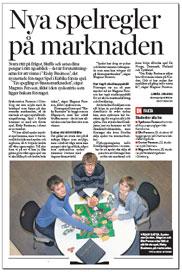 Artikel i Dagens Industri om Spel i kubik och Risky Business